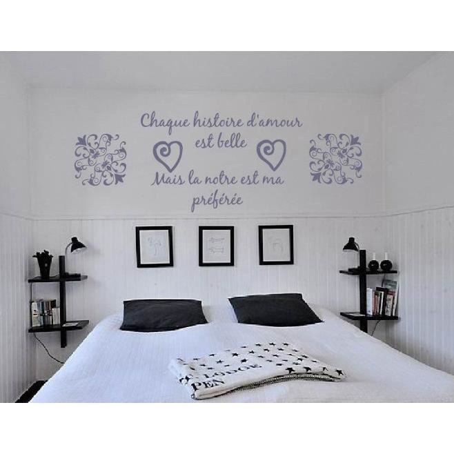 Sticker mural citation amour romantique achat vente for Stickers muraux citations chambre