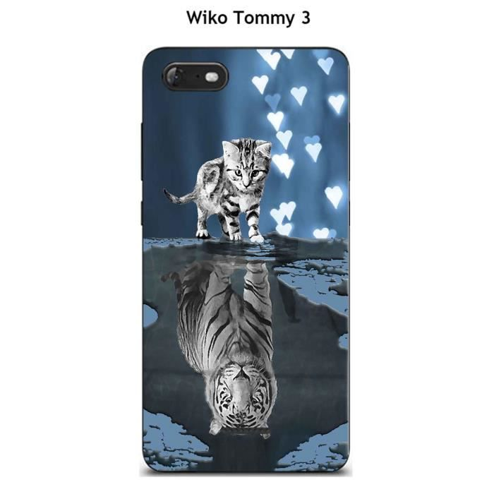 Coque TPU gel souple Wiko Tommy 3 design Chat Tigre Blanc fond ...