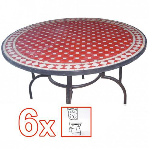 Ensemble table mosa que ronde diam tre 130 cm r achat - Salon de jardin table ronde ...