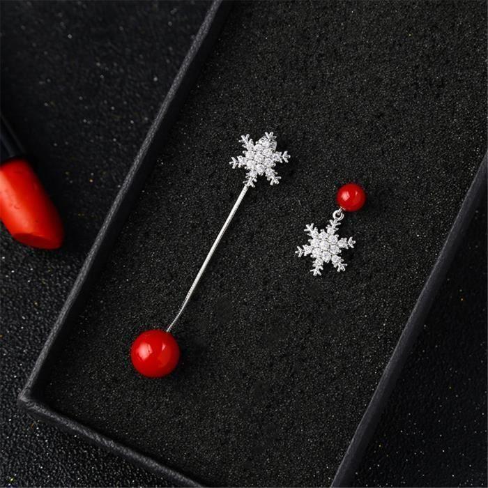 Belle Cristal Flocon de neige Ear Stud Clip 925 Plaqué Argent Boucle D/'oreille Femmes Bijoux