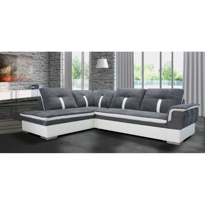 canap d 39 angle marion gris blanc angle gauche achat vente canap sofa divan cdiscount. Black Bedroom Furniture Sets. Home Design Ideas