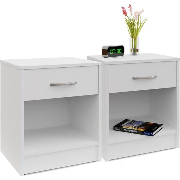 2x table de nuit 35 x 40 x 50 cm blanc table de chevet for Meuble 50 cm hauteur