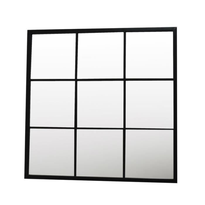 miroir fen tre carr 9 carreaux en m tal 90x90cm bengkel. Black Bedroom Furniture Sets. Home Design Ideas