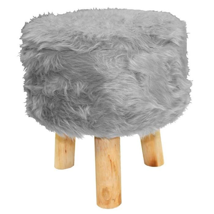 tabouret imitation fourrure grizzly gris achat vente tabouret gris cdiscount. Black Bedroom Furniture Sets. Home Design Ideas