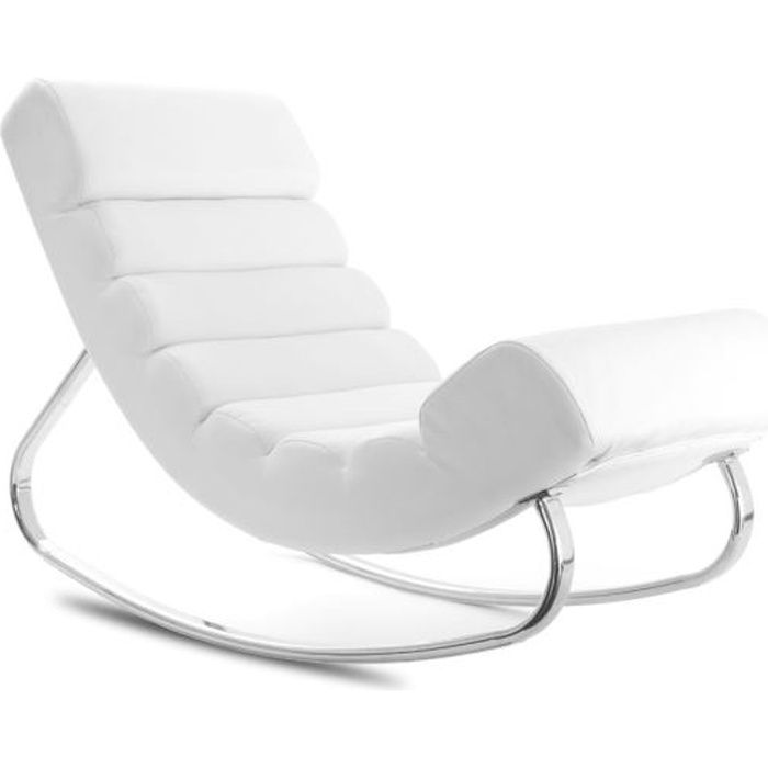 miliboo fauteuil design blanc rocking chair t achat vente fauteuil blanc cdiscount. Black Bedroom Furniture Sets. Home Design Ideas