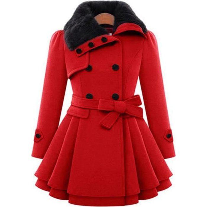 Rouge Manteau Femme Laine Mi Longue Col Revers De Fourrure Double Boutonnage Avec Ceinture Nœud Papillon Grande Taille Hiver