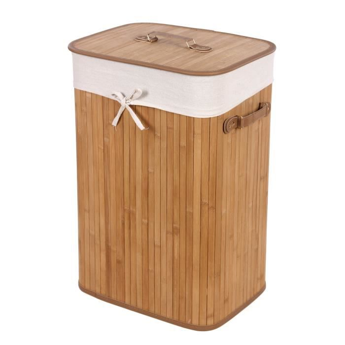 songmics 3 poign es panier linge coffre linge 100 bambou naturelle carr lcb102 achat. Black Bedroom Furniture Sets. Home Design Ideas