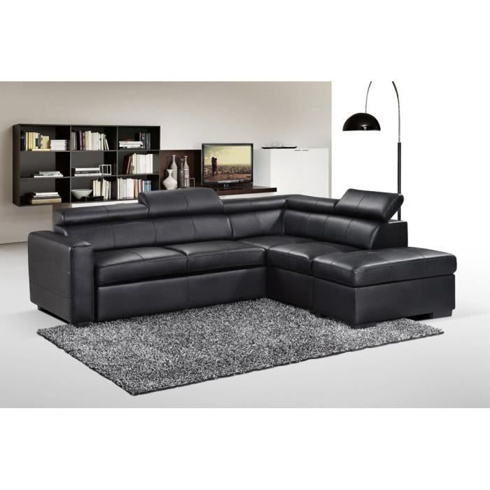 Canap d 39 angle convertible pu avec pouf multifonctions for But canape d angle convertible