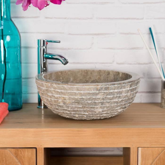 Vasque en pierre de salle de bain Vésuve gris t...