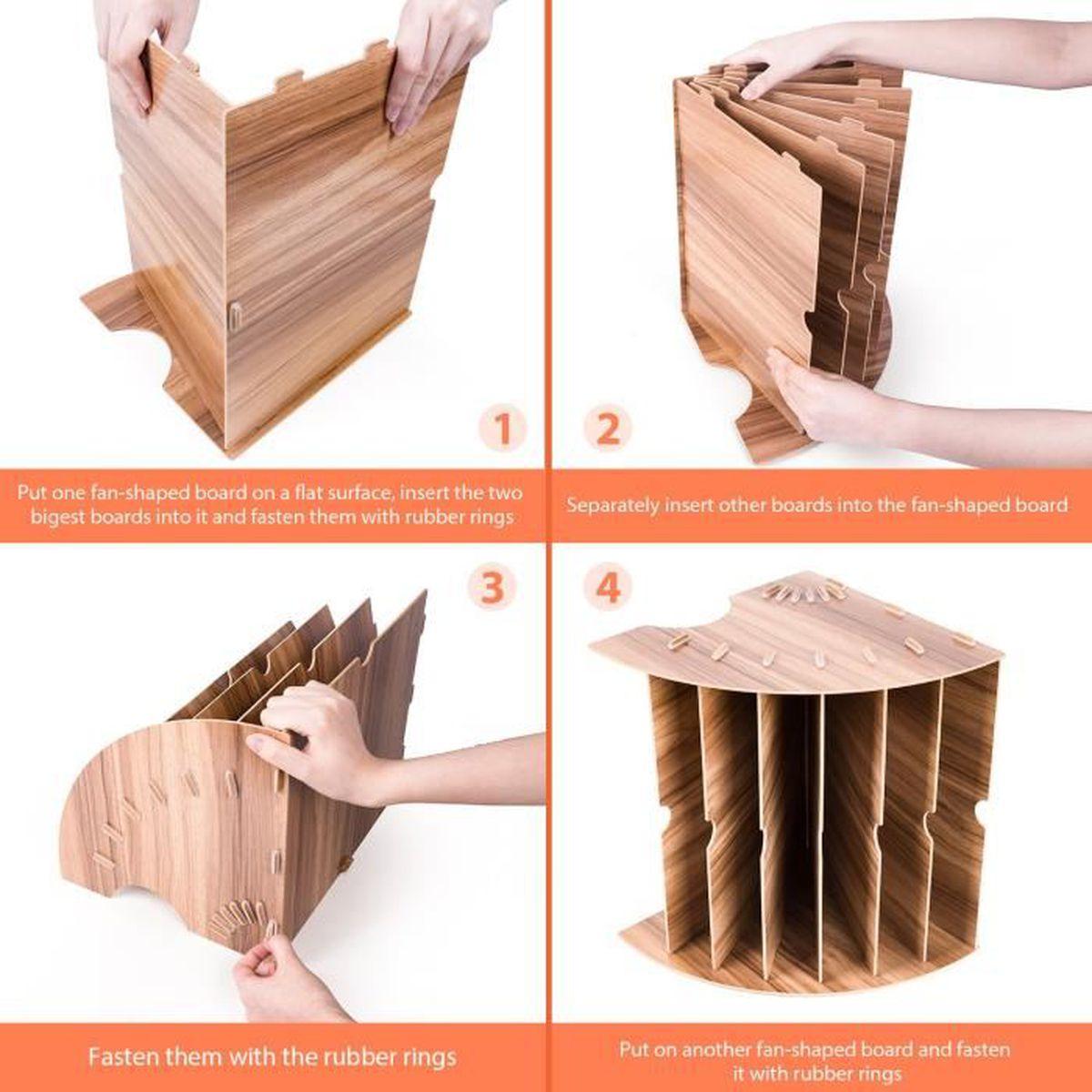 magazine lettre Trieur de fichiers en bois avec 6 compartiments pour bureau diviseur Noir