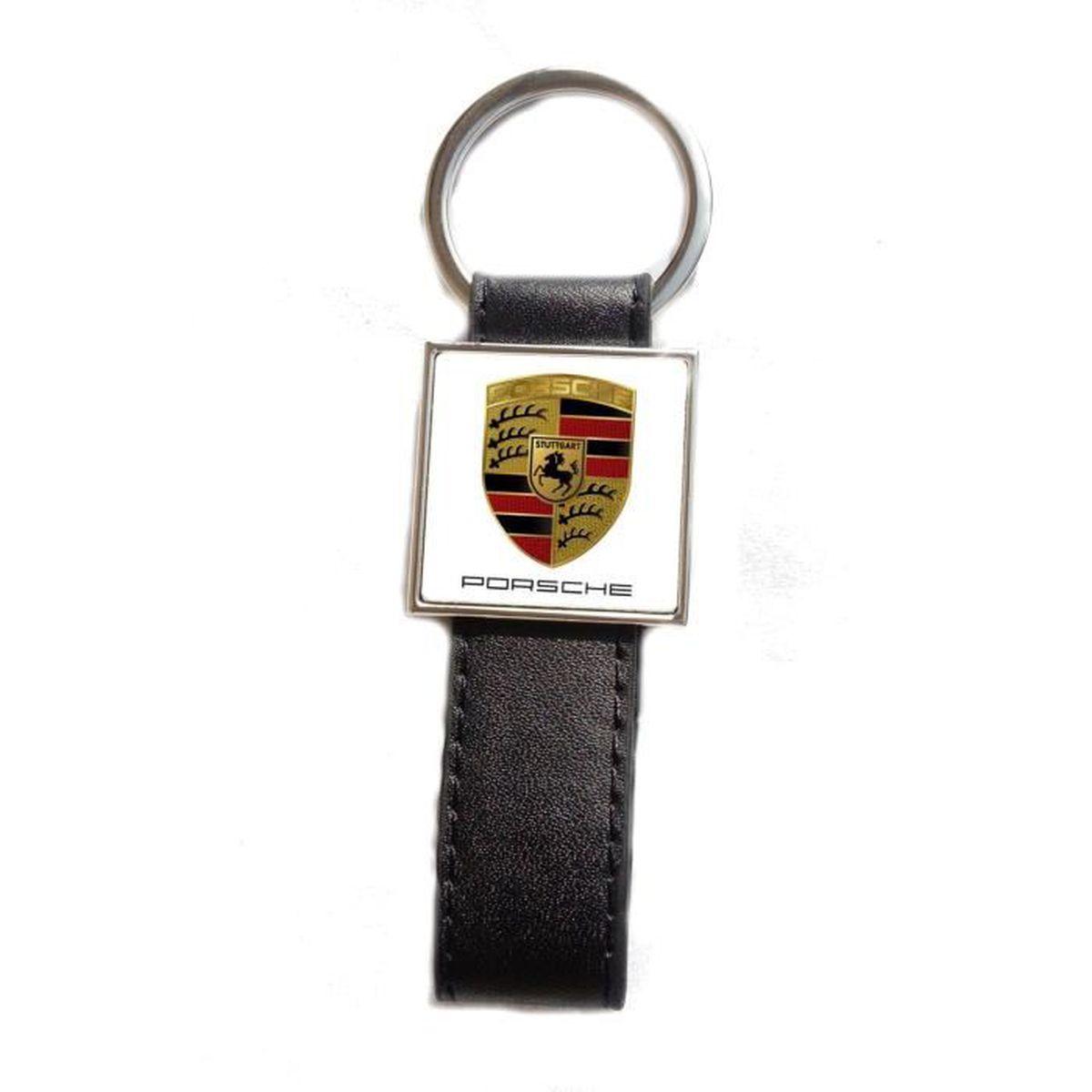Porte-cl/és Acier//Simili Cuir Logo Mini Fond Noir