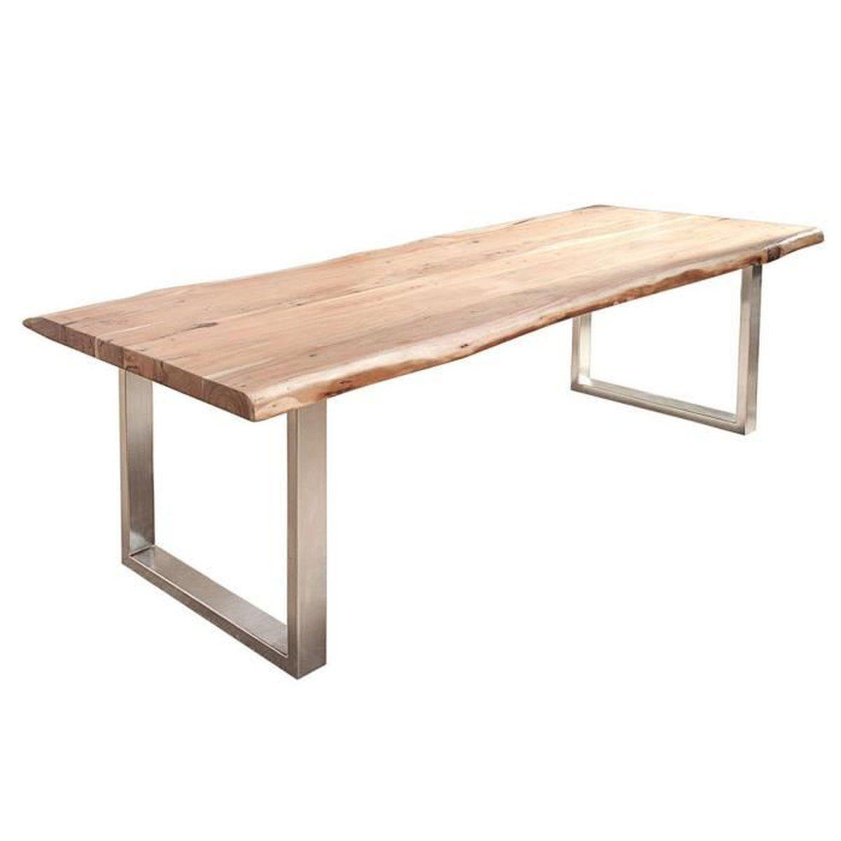 Table A Manger Originale table à manger 220 cm en acacia massif avec piétement en