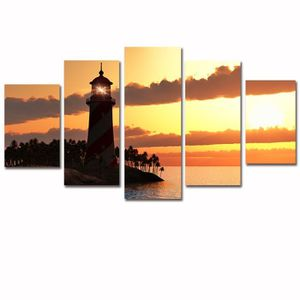 OBJET DÉCORATION MURALE (sans cadre) 5 Pièces Canvas Seascape Toile Art Af