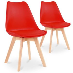 CHAISE Lot de 2 chaises style scandinave Catherina Rouge