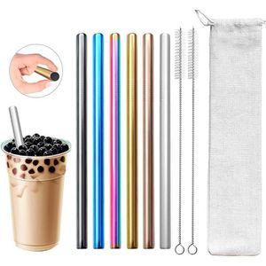 Paille Inox XL couleur arc pour bubble tea cocktail et smoothie