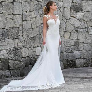 ROBE DE MARIÉE Robe de Mariée Sirène avec Traîne Sans Manches Dos