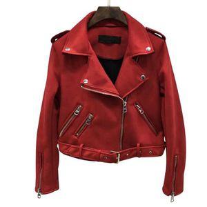BLOUSON Femmes Perfecto Vestes en daim Faux cuir @rouge