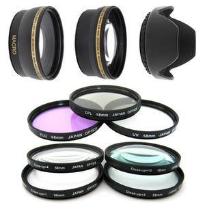 FILTRE PHOTO Kit 58MM Filtres HD (UV, CPL, FLD) + 4 filtres Mac