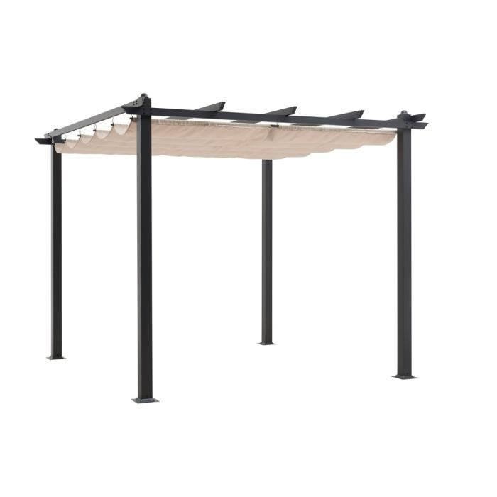 pergola 3x3 m en aluminium beige achat vente pergola pergola 3x3 m beige cdiscount. Black Bedroom Furniture Sets. Home Design Ideas