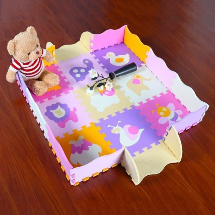 Tapis de Puzzles Tapis de Sol épais pour l'éveil de bébé Lot de 9 Dalles en Mousse Multicolores et 16 Tapis de Jeu de clôture SCB61