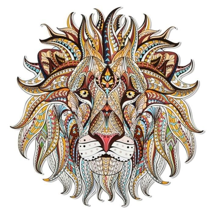 Brown Cool Fabric Craft 3D Lion Sticker Patch DIY Iron On Transfer Applique Clothes Brown