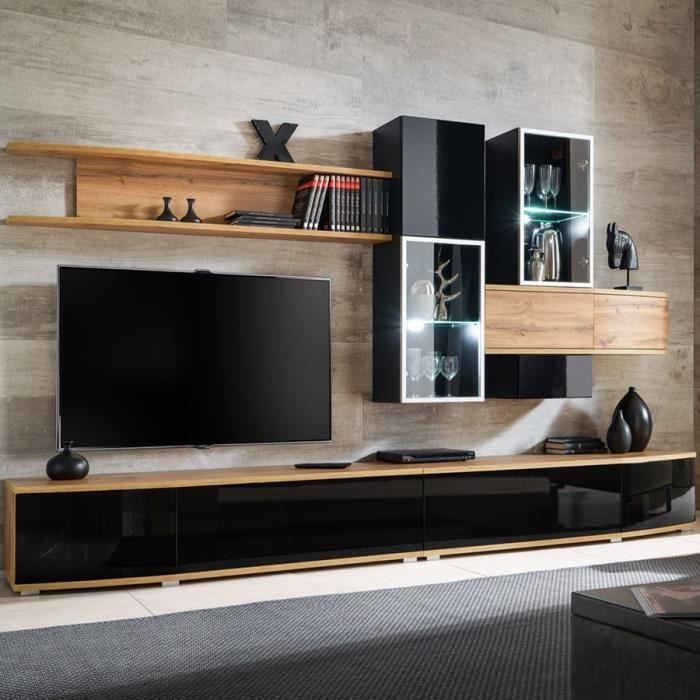 Ensemble meuble TV noir et couleur bois BAGNOLO Noir L 300 x P 45 x H 180 cm