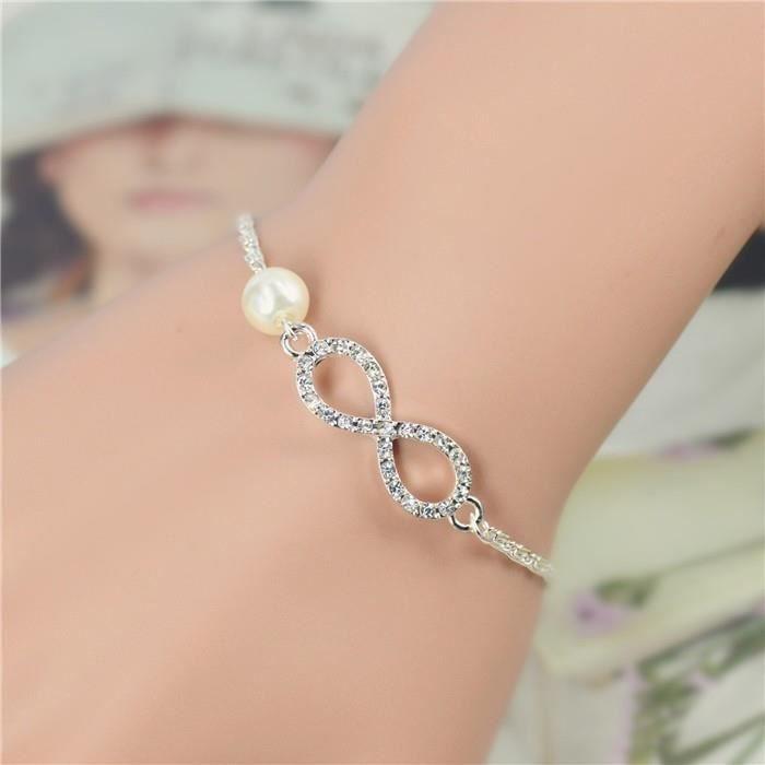 Bracelet - Infini Premium Perle - Argenté/Blanc