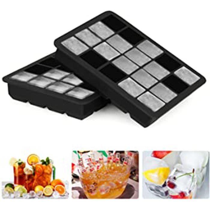 bacs à glaçons Silicone 20 Cubes Moule à glaçons Moule de Cube de Glace pour Whisky, Cocktail et Toute Boisson - 2 Pack