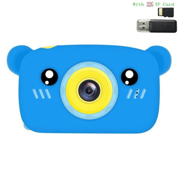 Appareil photo enfant,Mignon ours électronique appareil photo numérique jouets pour enfants cadeaux - Type With 32G TF Card #D