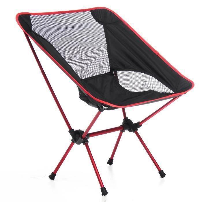 Pliable Chaise Fauteuil de Camping Portable Pr Exterieur Barbecue Pique-nique Pêche Max. 150kg rouge @SHE