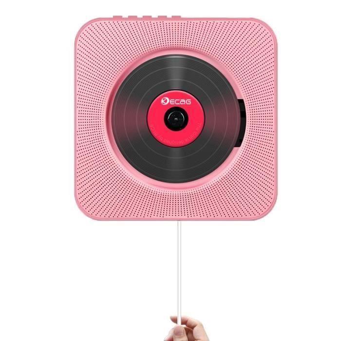 Lecteur CD Boombox Bluetooth audio portable avec télécommande Télécommande Radio FM Haut-parleurs HiFi intégrés USB MP3-Rose
