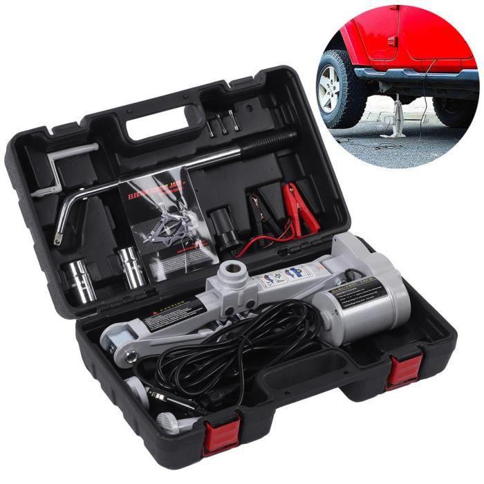 Levage de pneu électrique Kit de cric de voiture électrique avec clé à pneu 3 tonnes 12V 42cm de levage pour véhicule