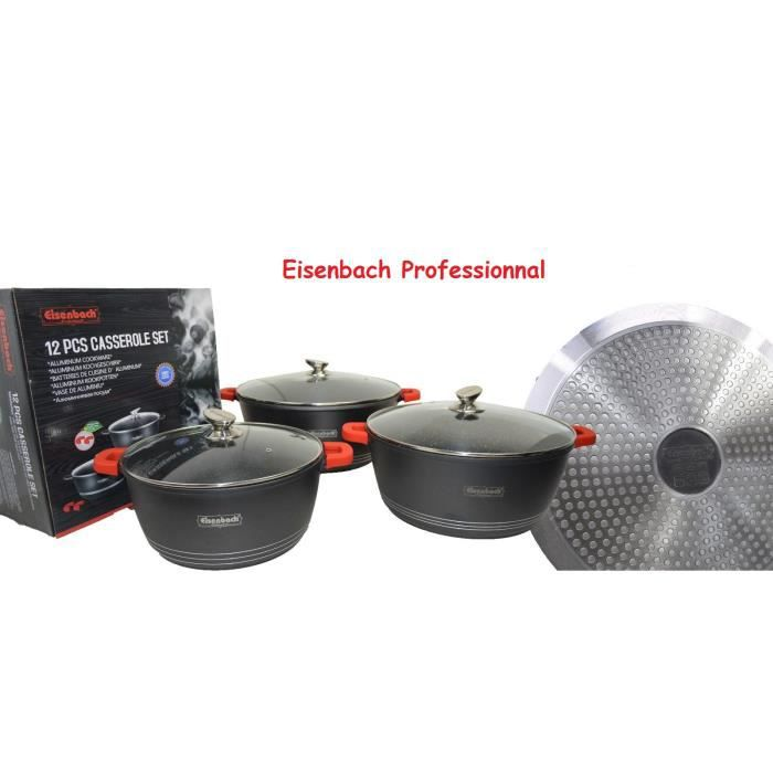 GSW Gourmet Granit Ustensiles de Cuisine-Set 11 pièces anti-adhérent induction casserole GSW 414562
