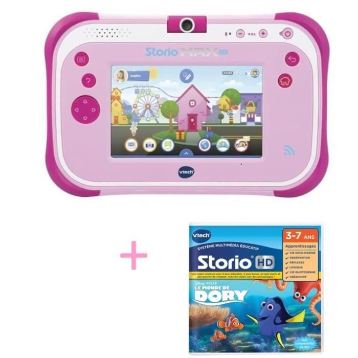 VTECH - Tablette STORIO MAX 2.0 rose & Jeu Le monde de Dory