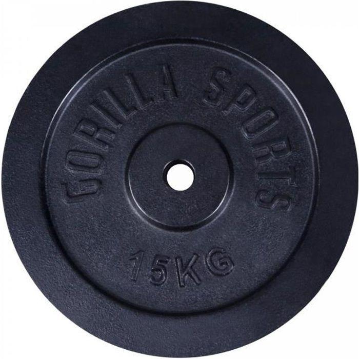 Gorilla Sports - Poids disque en fonte couleur Or ou Noir de 0,5kg à 30kg - NOIR - 15 KG