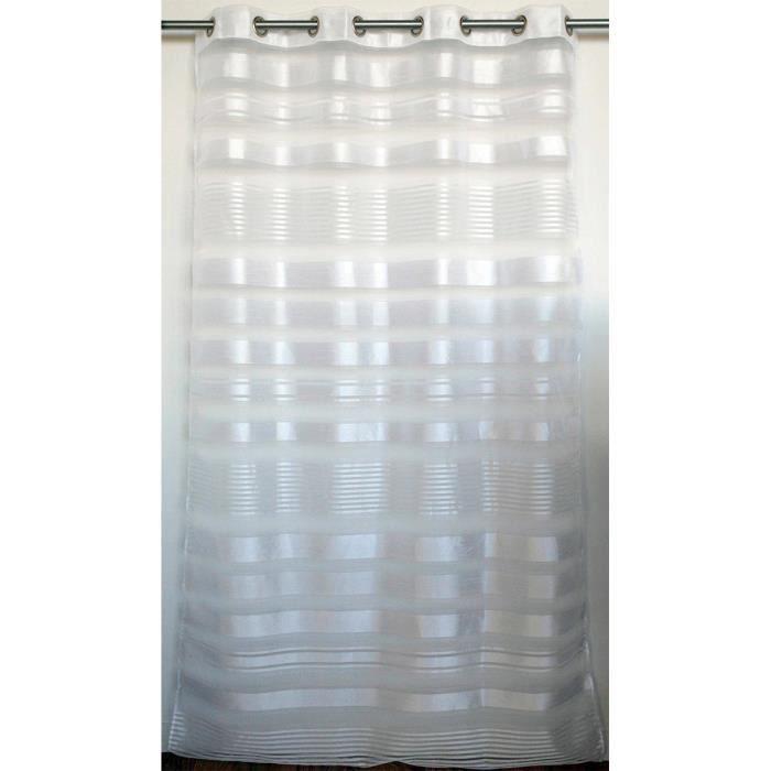 Voilage tamisant imprimé à fines rayures blanches 140 x 240 cm