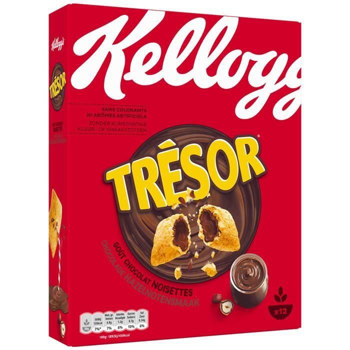 Cafe Moulu - LOT DE 10 - KELLOGG'S TRESOR : Céréales fourrées au chocolat noisette 375 g