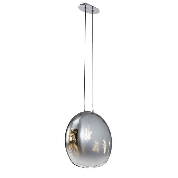 Grande suspension en verre soufflé Lens - Mantra Gris