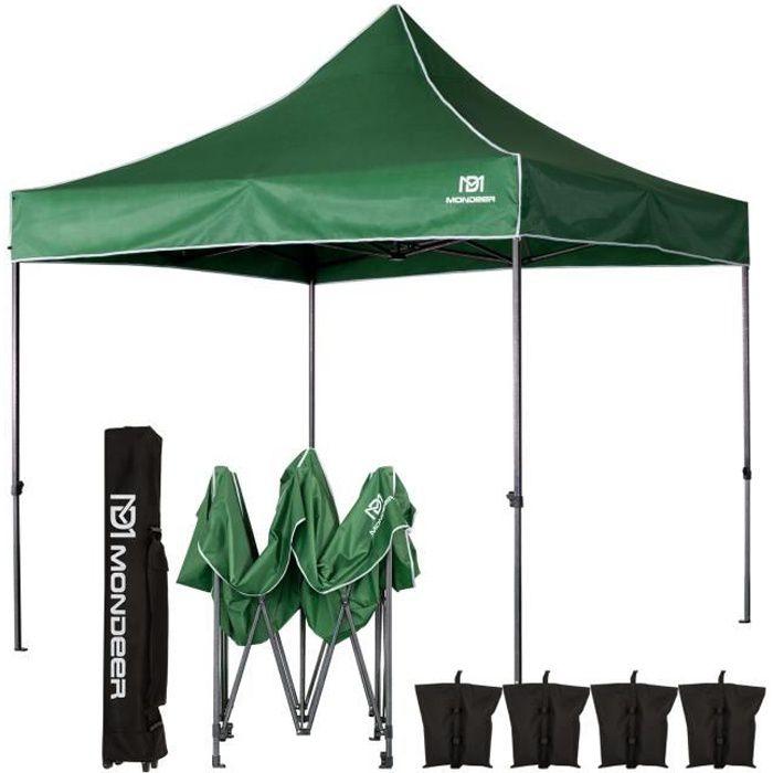 Tonnelle de Jardin Tente de Reception 3mx3m Pliante Impermeable pour Fête,Camping, Festival, Vert - Mondeer