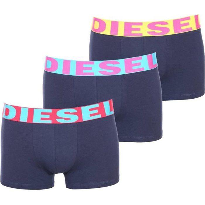 Lot de 3 boxers Diesel en coton stretch à ceinture jaune, rouge et bleu turquoise