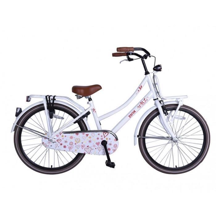 Vélo Enfant Fille 20 Pouces Zonix Oma Frein Avant sur Le Guidon et Le Frein Arrière à Rétropédalage Blanc 85% Assemblé