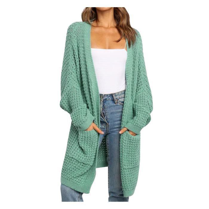 scourse® Cardigan patchwork à manches longues pour femmes vert