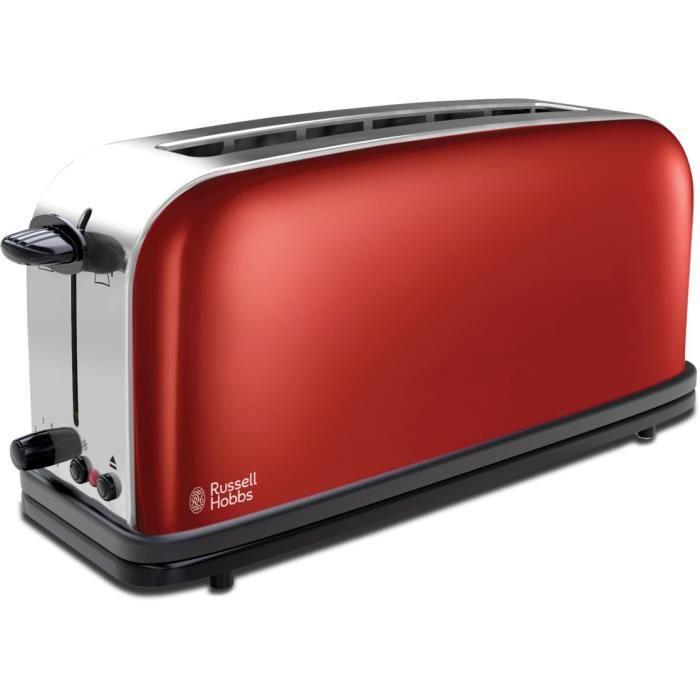 Russell Hobbs 21391-56 Toaster Grille-Pain Colours, Fente Large Spécial Baguette, 6 Niveaux de Cuisson, Décongèle, Réchauffe - Rouge