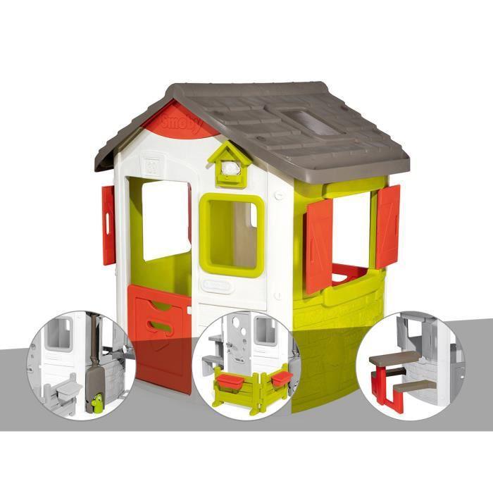 Cabane enfant Neo Jura Lodge - Smoby + Récupérateur d'eau + Espace jardin + Table pique-nique 115,4 x 123,3 x 132 cm