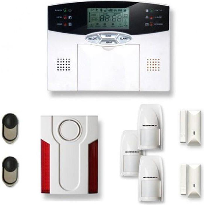 Alarme maison sans fil 2 à 3 pièces MN mouvement + intrusion + sirène extérieure - Compatible Box Internet