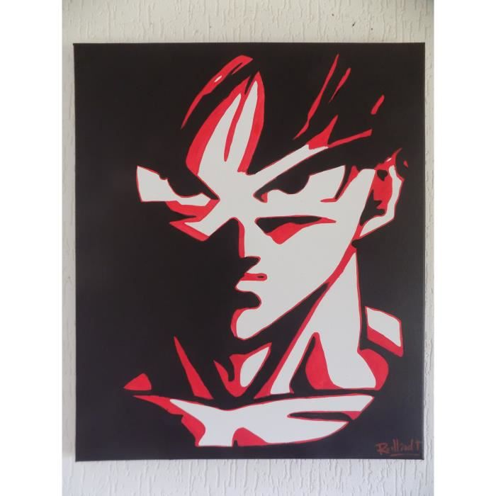 Tableau dragon ball z red foor peinture toile deco design for Decoration murale dragon ball z