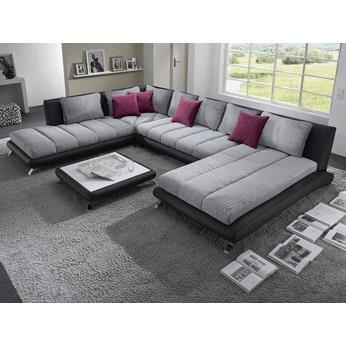 canap d 39 angle en pu noir et tissu gris duccio 5 a droite achat vente canap sofa divan. Black Bedroom Furniture Sets. Home Design Ideas
