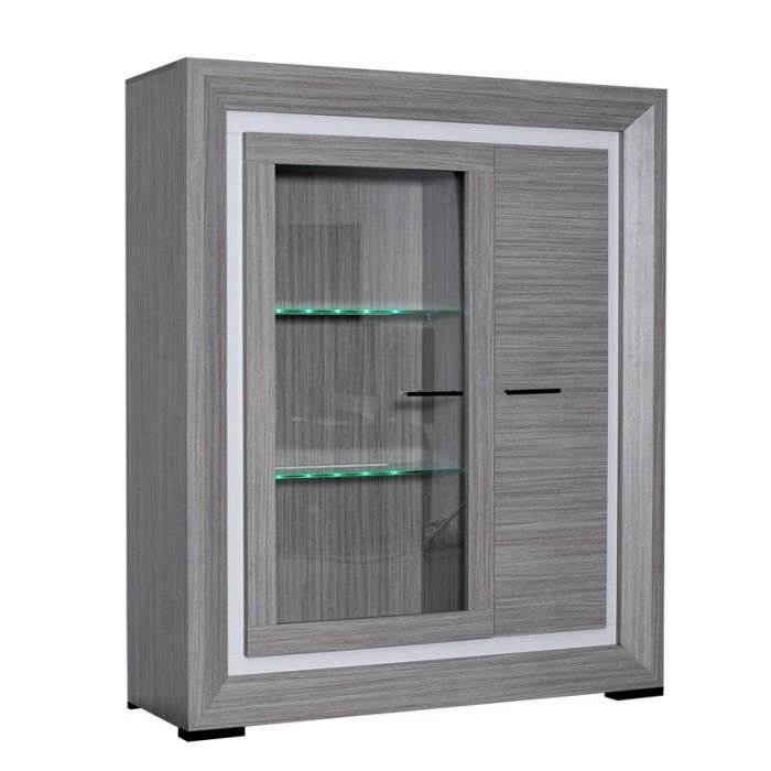 armoire vitrine de salon teck cendr alyne achat vente buffet bahut armoire vitrine de. Black Bedroom Furniture Sets. Home Design Ideas