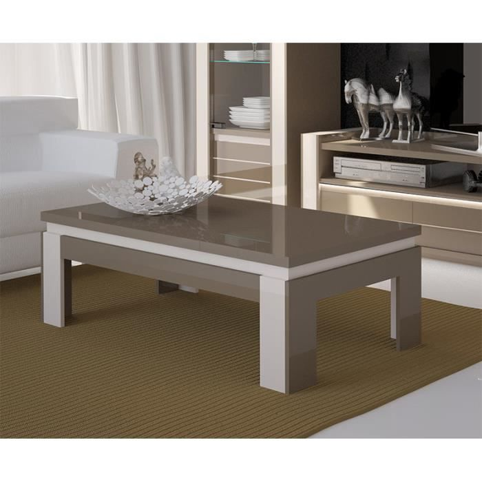 Table basse design lina cappuccino et blanc cr me achat for Table de salon blanc
