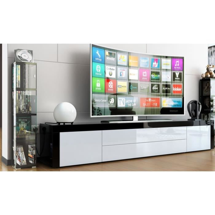 meuble tv noir blanc et noir 200cm achat vente meuble. Black Bedroom Furniture Sets. Home Design Ideas